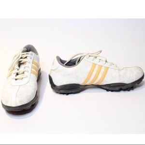 Vintage Yellow and White Floral Adidas Golf Shoes